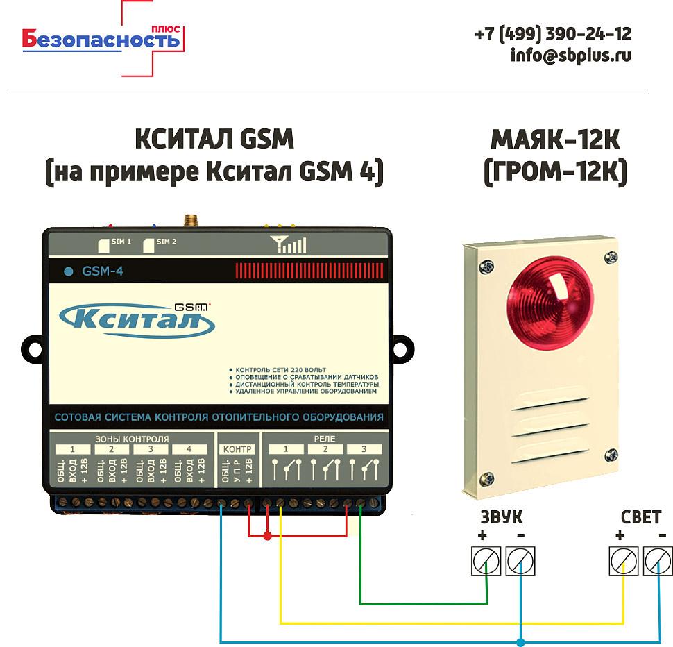 МАЯК-12К схема подключения к Кситал GSM