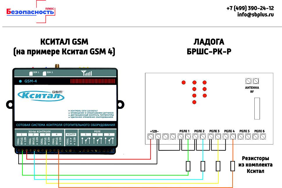Схема подключения Ладога БРШС-РК-Р к системе Кситал